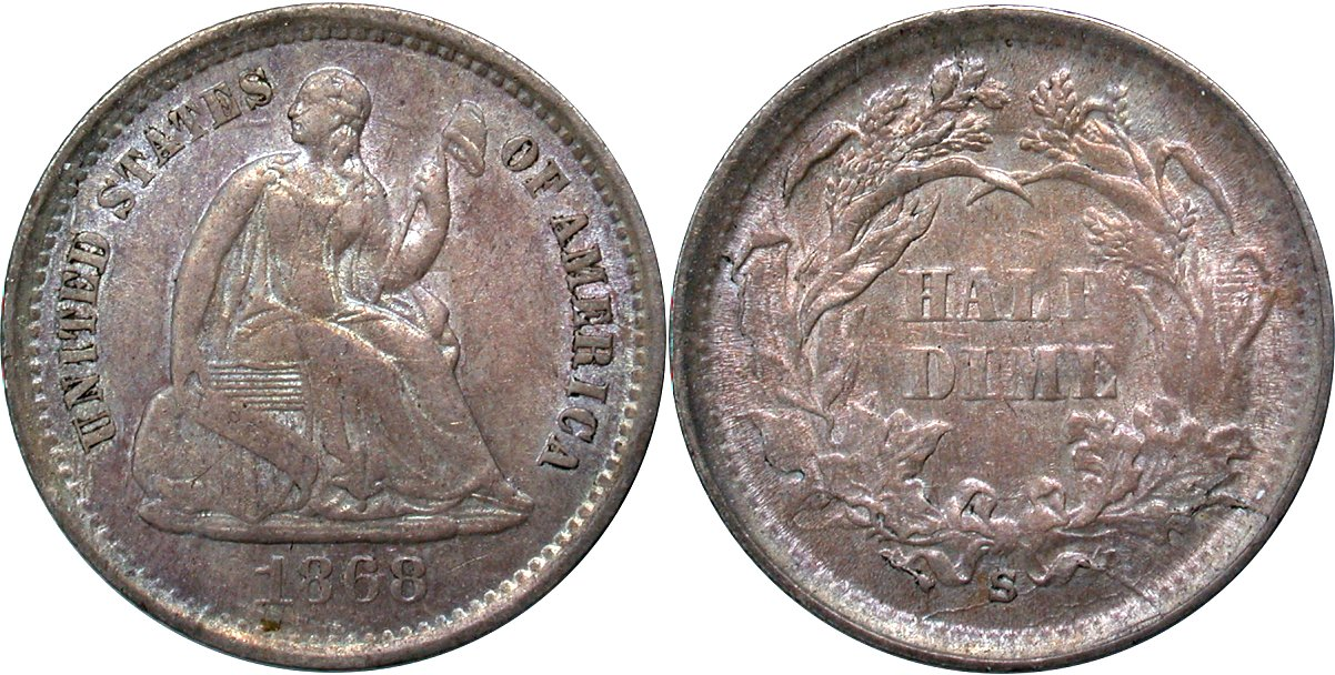 Seated 5C 1868S