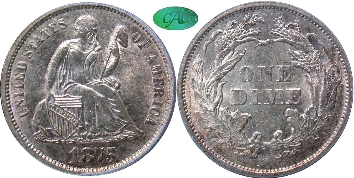 Seated 10C 1875S