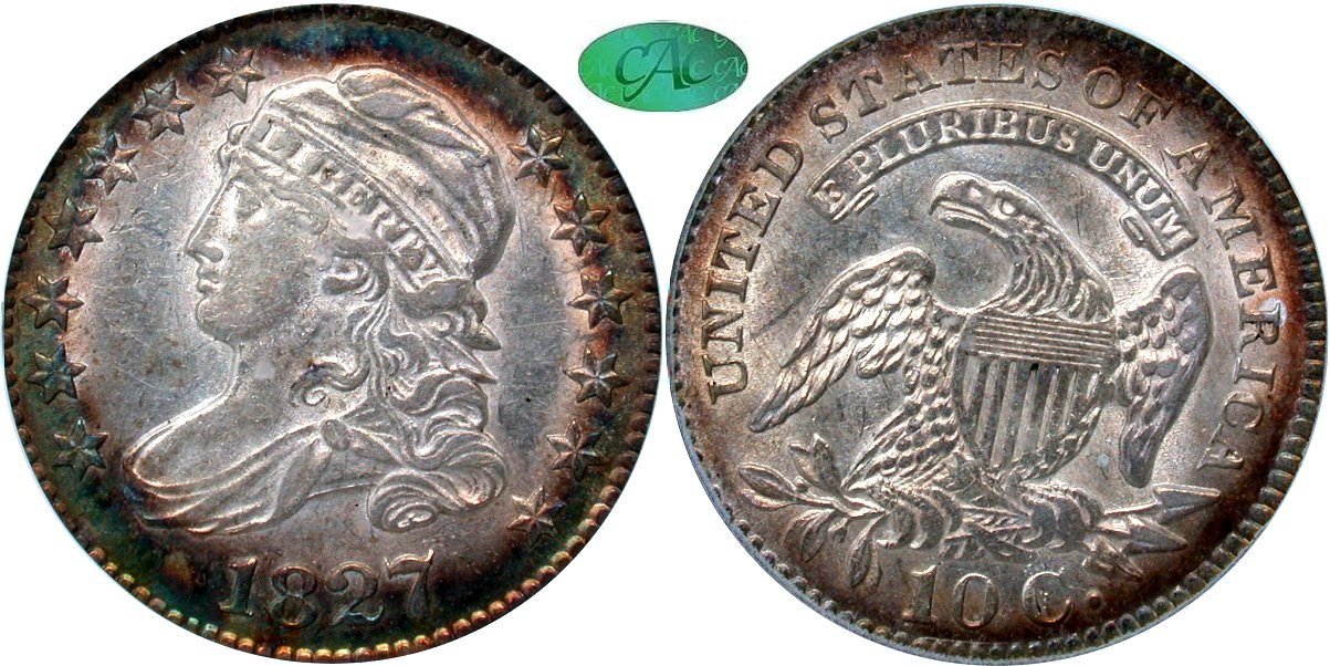 Capped Bust 10C 1827