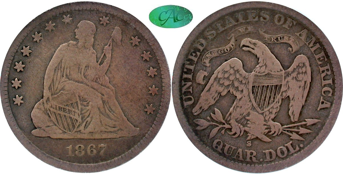 Seated 25C 1867S