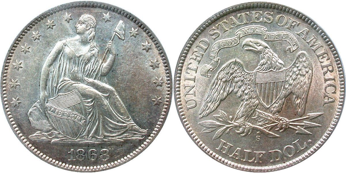 Seated 50C 1868S