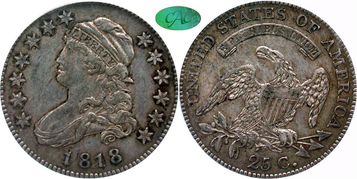 Capped Bust 25C 1818