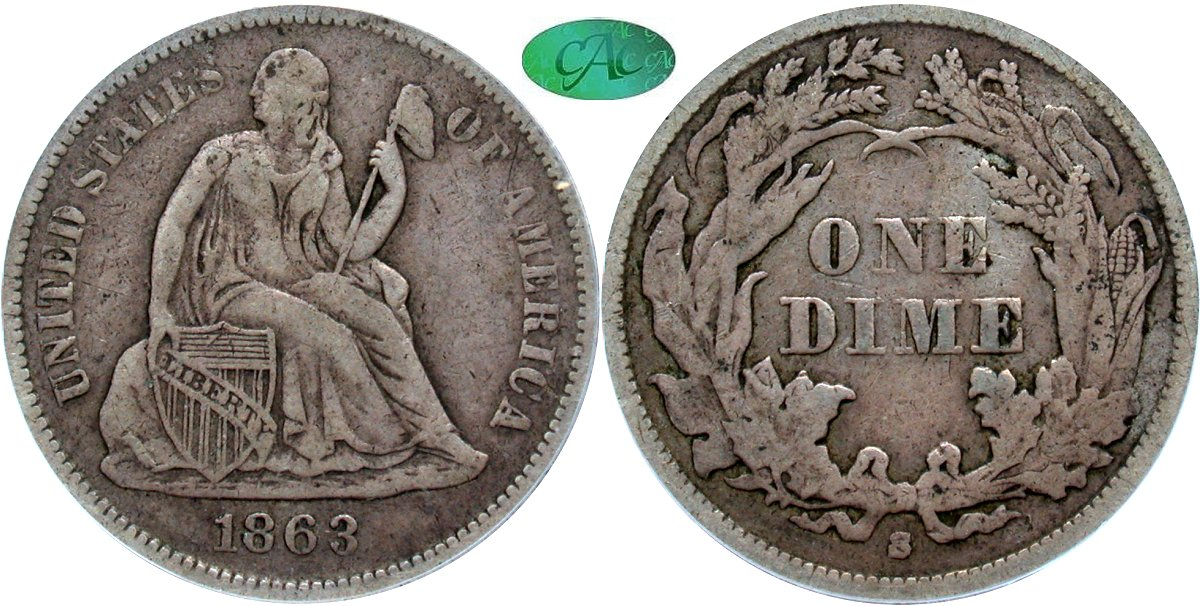Seated 10C 1863S