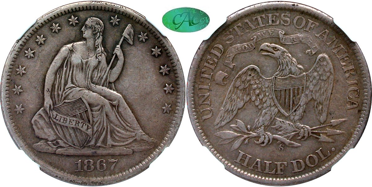 Seated 50C 1867S