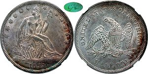 GFRC Open Set Registry - Oregon Beaver 1839 Seated With Drapery 50C