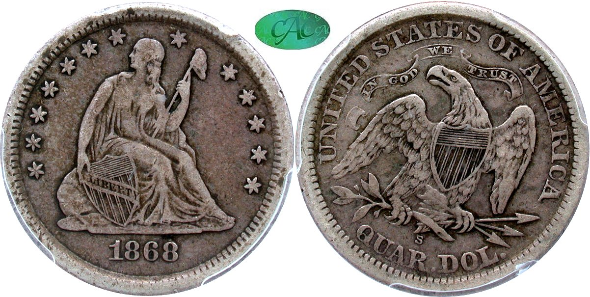 Seated 25C 1868S