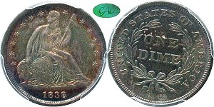 GFRC Open Set Registry - Coulombe Family 1838 Seated Sm Stars 10C