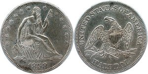 GFRC Open Set Registry - Oregon Beaver 1858 Seated  50C