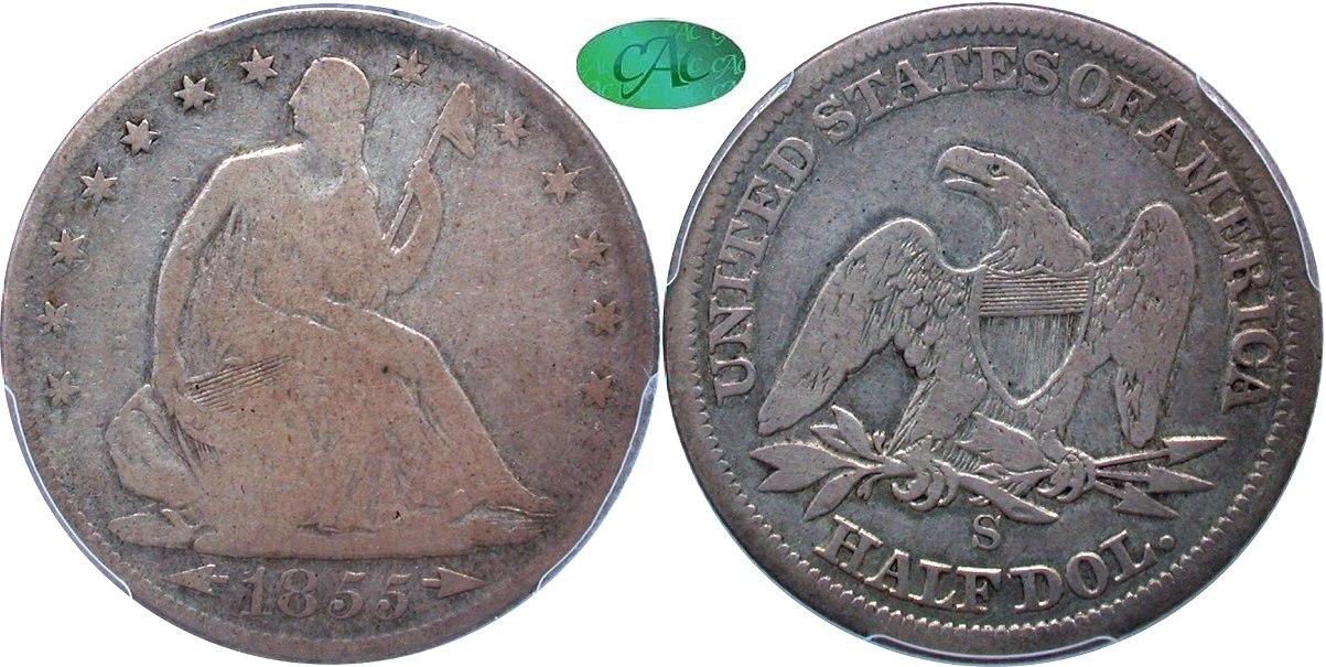 Seated 50C 1855S