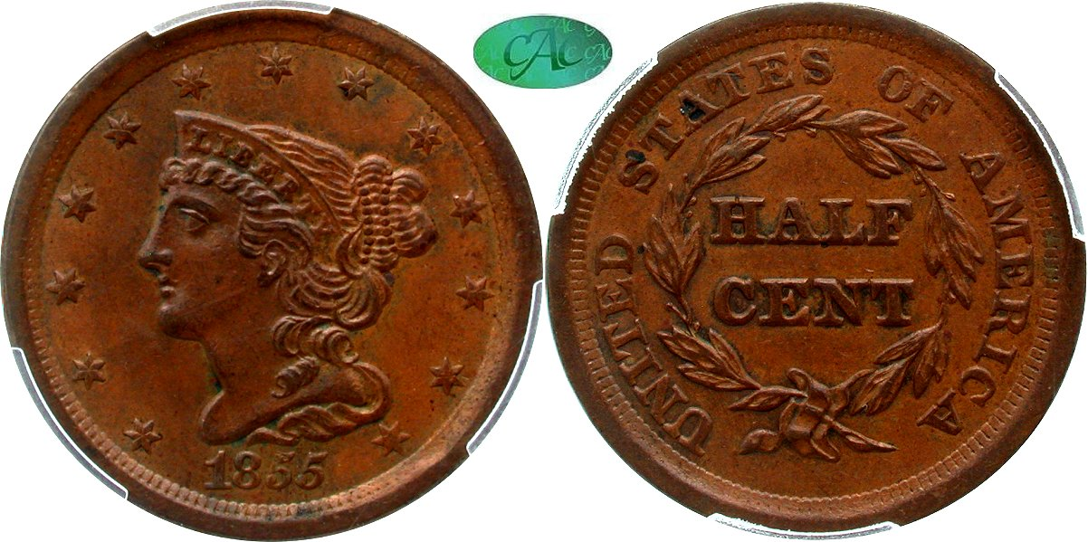 Early Copper 1/2C 1855