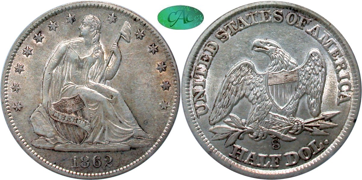 Seated 50C 1862S