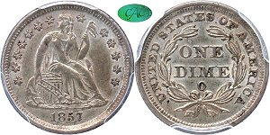 GFRC Open Set Registry - Tenafly 1857 Seated  10C
