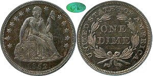 GFRC Open Set Registry - Coulombe Family 1852 Seated  10C