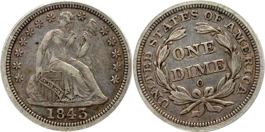 GFRC Open Set Registry - Coulombe Family 1843 Seated  10C