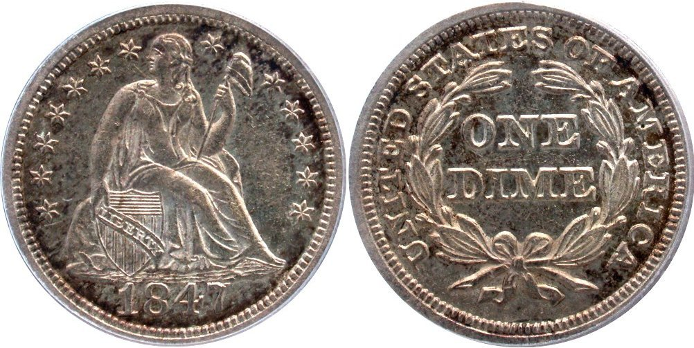GFRC Open Set Registry - Coulombe Family 1847 Seated  10C