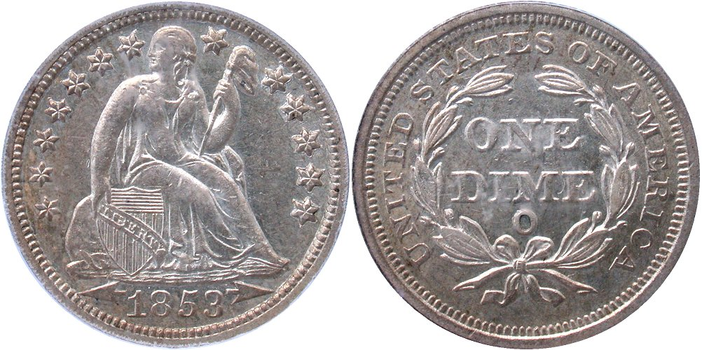GFRC Open Set Registry - Coulombe Family 1853 Seated With Arrows 10C