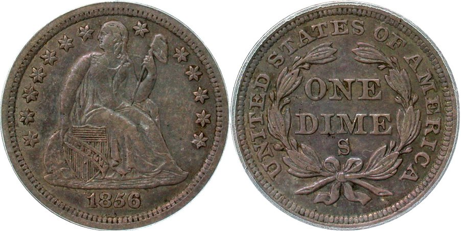GFRC Open Set Registry - Coulombe Family 1856 Seated  10C