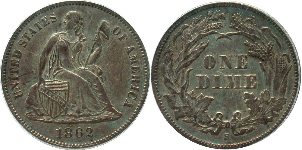 GFRC Open Set Registry - Coulombe Family 1862 Seated  10C