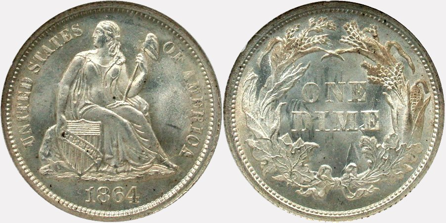 GFRC Open Set Registry - Coulombe Family 1864 Seated  10C
